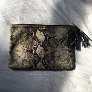 Embossed Python Leather GiGi New York clutch
